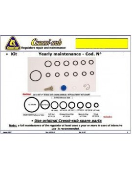 Cressi Maintenance Kit 1st STAGE T10/T10SC CROMO INT/DIN